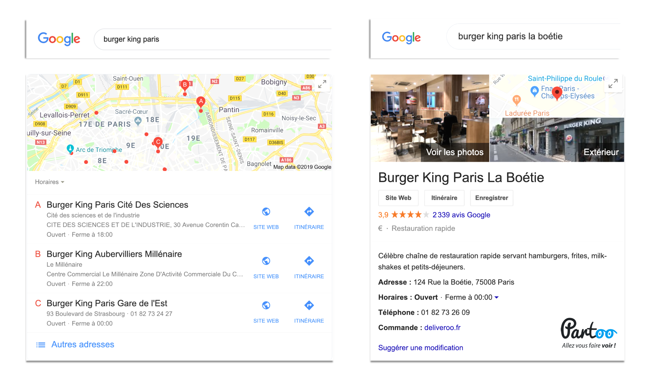 Fiche Google My Business Burger King